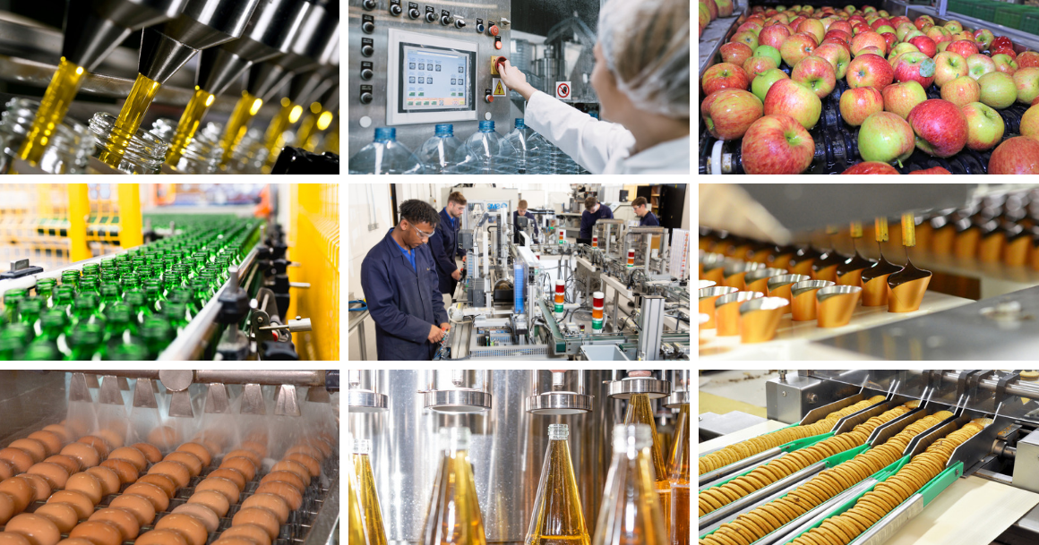 Selection of images showing the food and drink industry